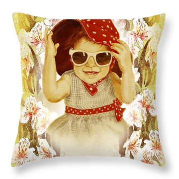 Throw Pillow featuring the painting Vintage Fashion Girl by Irina Sztukowski
