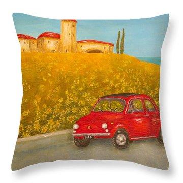 Vintage Fiat 500 Throw Pillow by Pamela Allegretto