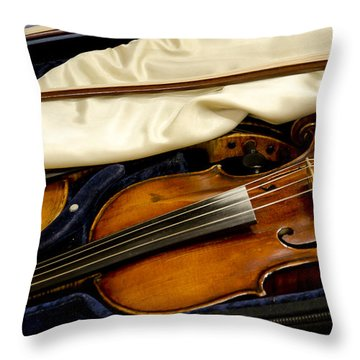 Vintage Fiddle In The Case Throw Pillow by Wilma  Birdwell
