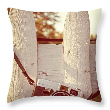 Vintage Film Camera On Picket Fence Throw Pillow by Edward Fielding