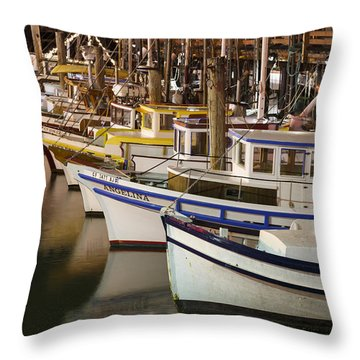 Vintage Fishing Boats Throw Pillow
