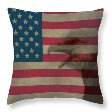 Vintage Flag With Bald Eagle Throw Pillow by Dan Sproul
