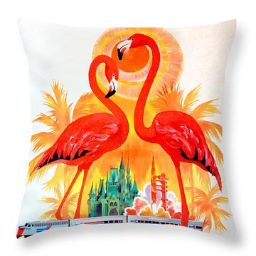 Vintage Florida Amtrak Travel Poster Throw Pillow