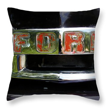 Vintage Ford Throw Pillow by Laurie Perry