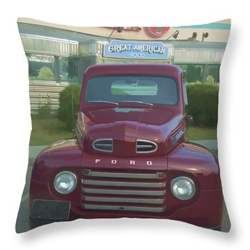 Vintage Ford Truck Outside The Tiltn Diner Throw Pillow by Edward Fielding