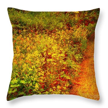 Throw Pillow featuring the photograph Vintage Garden Path by Terri Gostola