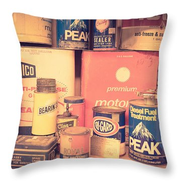Vintage Gas Service Station Products Throw Pillow by Edward Fielding