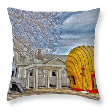 Days Of Yesterday Gas Station Throw Pillow