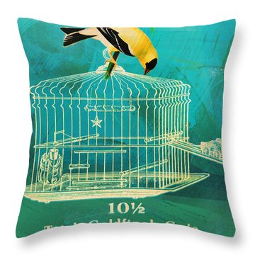 Throw Pillow featuring the painting Goldfinch  by Douglas MooreZart