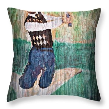 Vintage Golfer Throw Pillow by Judy Palkimas