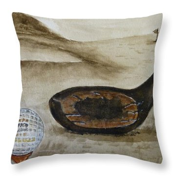 Vintage Golfing In The Early 1900s Throw Pillow by Kelly Mills
