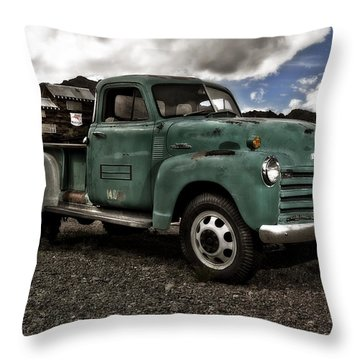 Vintage Green Chevrolet Truck Throw Pillow by Gianfranco Weiss
