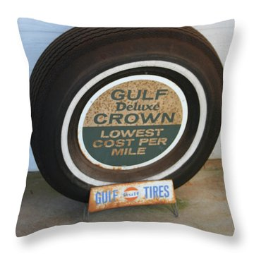 Throw Pillow featuring the photograph Vintage Gulf Tire With Ad Plate by Lesa Fine