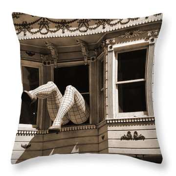 Vintage Haight And Ashbury San Francisco Throw Pillow by RicardMN Photography
