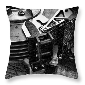 Vintage Hard Drive Throw Pillow by Olivier Le Queinec