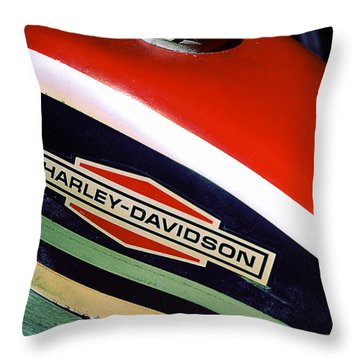 Vintage Harley Davidson Gas Tank Throw Pillow by Beverly Stapleton