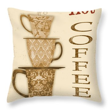 Vintage Hot Coffee Sign Throw Pillow by Jean Plout