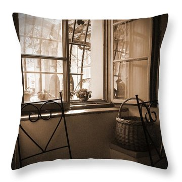 Vintage Interior With A Wooden Framed Window Throw Pillow