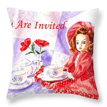 Vintage Invitation Throw Pillow by Irina Sztukowski