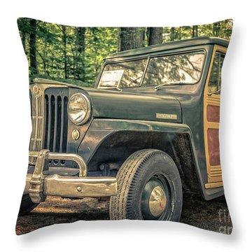 Vintage Jeep Station Wagon Throw Pillow