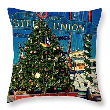 Vintage Key West Holiday Tree Throw Pillow by Pamela Blizzard