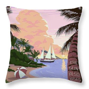Vintage Key West Travel Poster Throw Pillow