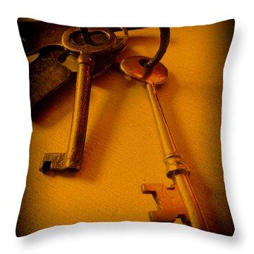 Vintage Keys Deep Antiqued Vignette Throw Pillow