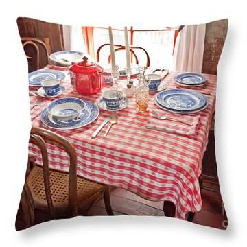 Vintage Kitchen Table Art Prints Throw Pillow