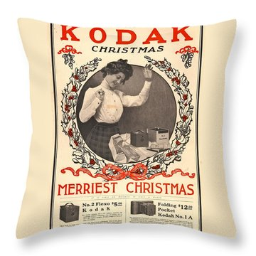 Vintage Kodak Christmas Card Throw Pillow