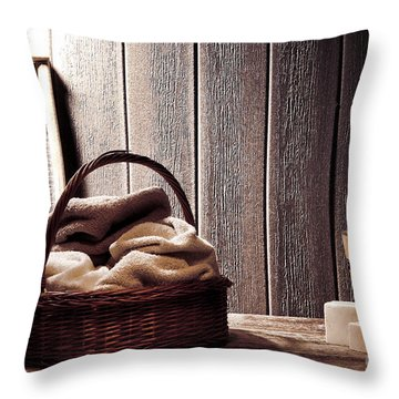 Vintage Laundromat Throw Pillow by Olivier Le Queinec