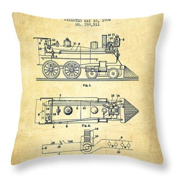 Vintage Locomotive Patent From 1904 - Vintage Throw Pillow