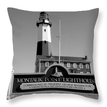 Vintage Looking Montauk Lighthouse Throw Pillow