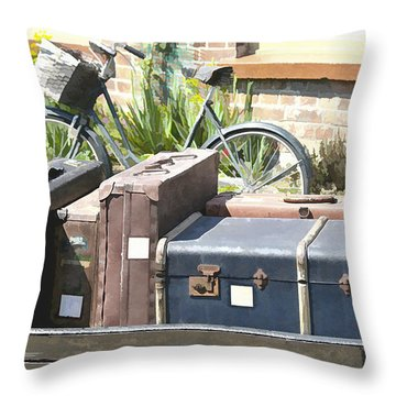 Throw Pillow featuring the photograph Painted Effect - Vintage Luggage by Susan Leonard