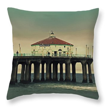 Vintage Manhattan Beach Pier Throw Pillow