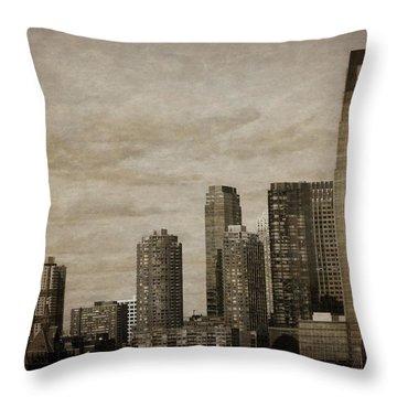 Vintage Manhattan Skyline Throw Pillow