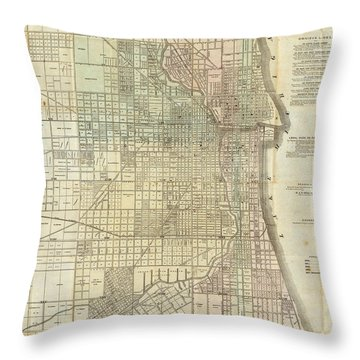 Vintage Map Of Chicago - 1857 Throw Pillow