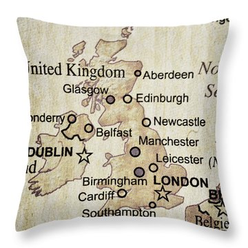 Vintage Map Of England Throw Pillow