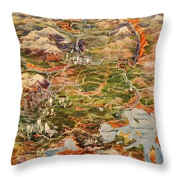 Vintage Map Of Yellowstone National Park Throw Pillow