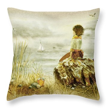 Vintage Memories Girl And The Ocean Throw Pillow