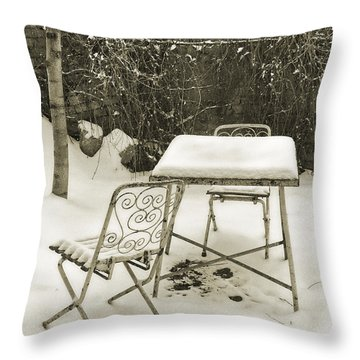 Vintage Metal Chairs Covered With Snow Throw Pillow