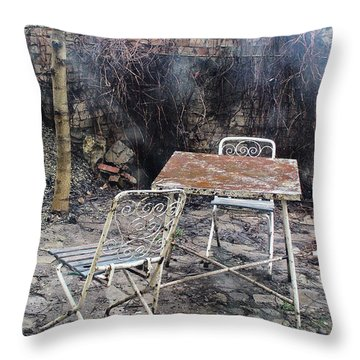Vintage Metal Chairs In The Backyard Throw Pillow