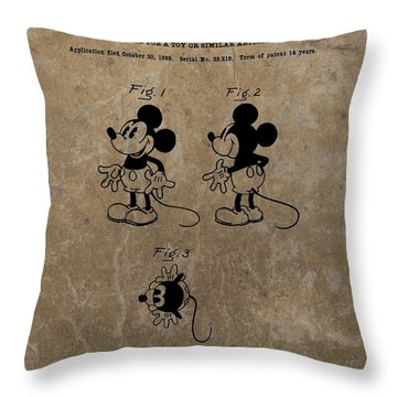 Vintage Mickey Mouse Patent Throw Pillow