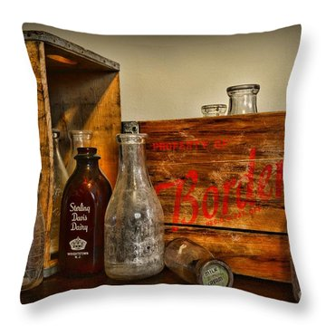 Vintage Milk Delivery Throw Pillow