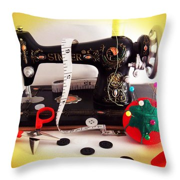 Vintage Mini Sewing Machine Throw Pillow