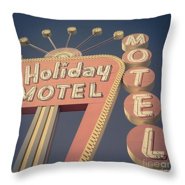 Vintage Motel Sign Square Throw Pillow by Edward Fielding