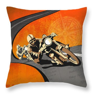 Vintage Motor Racing  Throw Pillow