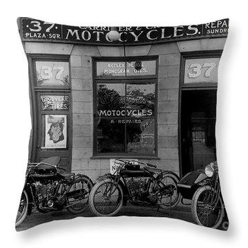 Vintage Motorcycle Dealership Throw Pillow