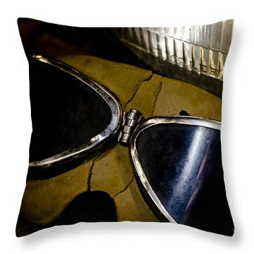 Vintage Motorcycle Goggles Throw Pillow by Wilma  Birdwell