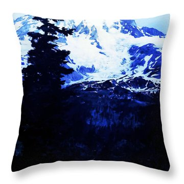 Throw Pillow featuring the photograph Vintage Mount Rainier And Reflexion Lake In The Foreground Early 1900 Era... by Eddie Eastwood
