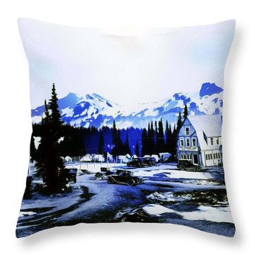 Vintage Mount Rainier Camp And Store Supplies Early 1900 Era... Throw Pillow